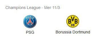 Pronostico Partita Paris St. Germain vs Borussia Dortmund